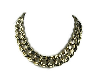 Gold Tone Chunky Necklace 18 Inch Chain