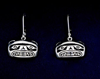 Bear Earrings, Northwest Native American Style, recycled sterling silver