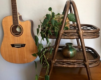 """24"""" Vintage Rattan Bamboo Double Tier Tray / Rattan Plant Stand"""