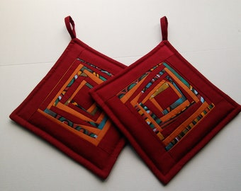 Red Fabric Quilted Pot Holders Quilted Potholders Quilted  Pads   Patchwork Potholders Gift for Mom Set of 2
