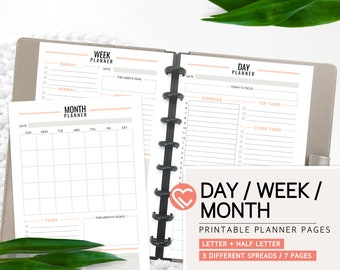 Day, Week, and Month Planner Pages | 3 Sizes | Digital Planner Pages | Instant Download Printable PDF | Daily Weekly Monthly