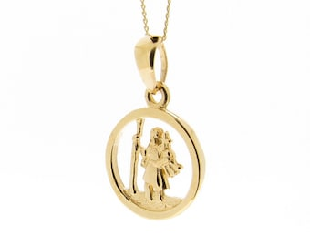 9ct Yellow Gold Round St Christopher Pendant