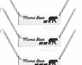 MaMa Bear Necklace-Mama Bear with cubs- Mothers Day