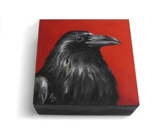 Crow painting on crimson red - mini raven corvidae art - corvid painting - macabre black bird art - miniature crow art