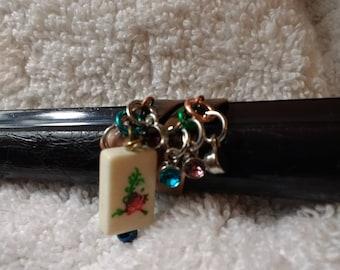 Mahjong ring / Mah jongg jewelry / adjustable size ring / Mahjongg pizazz / rhinestones & glitz / antique brass / Ma jong Flower bead
