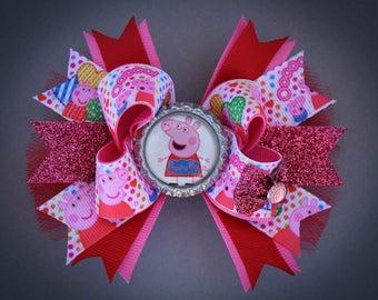 Peppa Pig Bow, Peppa Pig Hair Bow, Peppa Pig Birthday Bow, Peppa Pig Party, Peppa Pig Boutique Hair Bow, Peppa Pig Gift, Peppa Pig shirt