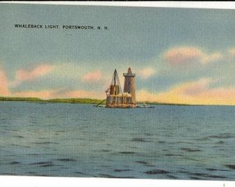 Linen Postcard, Portsmouth, New Hampshire, Whaleback Lighthouse, 1948