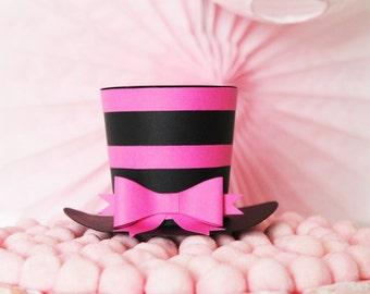 Black top hat and fuchsia - wedding decoration