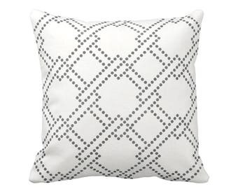 """Linked Squares Throw Pillow, Charcoal & White 16, 18, 20 or 26"""" Square OUTDOOR or INDOOR Pillows/Covers, Dark Grey Geometric Print/Pattern"""
