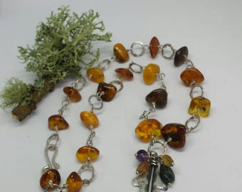 Sterling Silver Oak Leaf Necklace with Amber Beads.