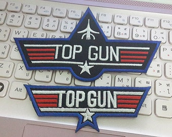 Top Gun Iron on Patch - Top Gun Applique Embroidered Iron on Patch (2 Pcs.)