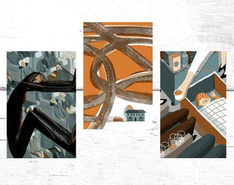 Set of 3 postcards, Illustrated Postcards, Contemporary Art Postcards, Blank Cards, Modern Art Pints, Original Illustrations, Art Cards