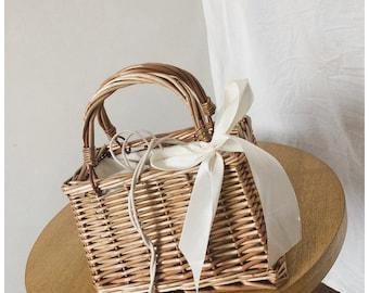 Brisa Boxy Boho Woven Mini Straw Bag Rattan Crossbody Summer Purse Handbag