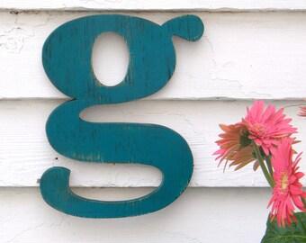 Lower Case Letter Nursery Letter Sign Custom Rustic Wooden Letter Vintage Style Kid Room Decor Nursery Decor Baby Shower Gift Choice Letter