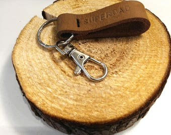 Leather keychain - personalized keychain leather - costume bag hanger