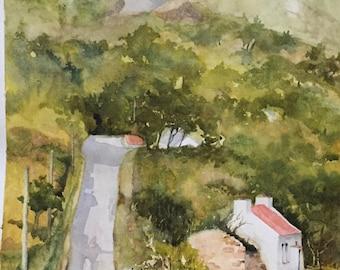 The White Washed Cottage, Irish Watercolour, Irish Art. mamore Gap, Co Donegal.