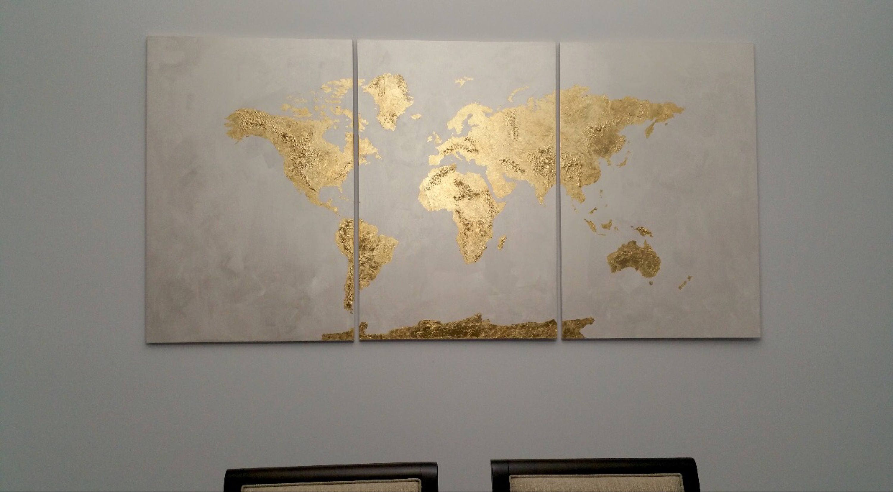 3 piece extra large gold leaf 36 x 72 original world map zoom gumiabroncs Gallery