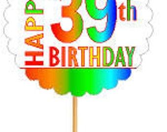 Happy 39th Birthday Rainbow Cupcake Decoration Topper Picks -12pk