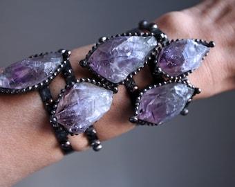 Amethyst Cuff Bracelet // Skinny Raw amethyst Point Crystal Bracelet