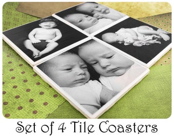 Custom Photo Coaster Set of Personalized Coasters