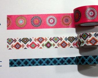 Washi Tape Samples, Washi Tape Sample, Moroccan Washi Tape, Rainbow Washi Tape, Tiled Washi Tape, Planner Accessories, Scrapbook Supplies