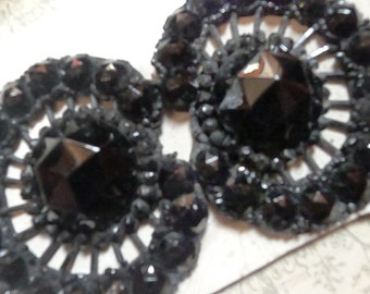 antique belt buckle jet beads