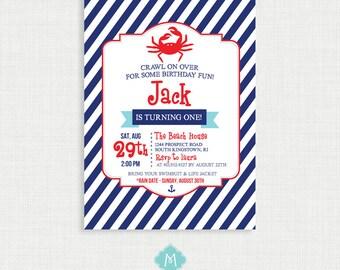 Printable Birthday Invitation- Nautical Birthday Invitation, Crab  Birthday Party Invitations, DIY,  Printable Template
