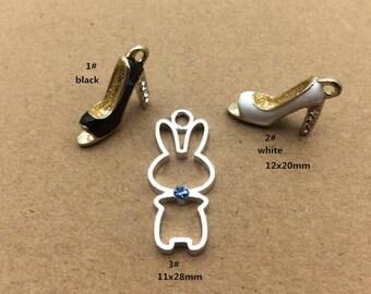 10PCS, Enamel Charm, Women Shoes Charm, Rabbit Charm, Handmade Pendant, Jewelry Charm, Craft Supplies, Gold Tone