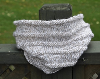 Beige and White Marled Knitted Cowl