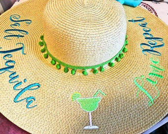 Personalized Salt Tequila Lime Repeat Floppy Hat Pom Pom Bride Bridesmaid Vacation Beach Hat Sun Hat Honeymoon Hat OOAK