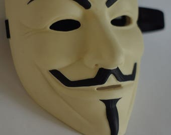 Guy Fawkes mask V for mask Vendetta mask Anonymous mask White Freedom mask Guy Fawkes Collectible mask Cream Colour