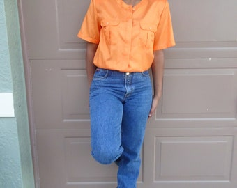 Cymbrion Vintage Top Blouse Orange Shoulder Pads Bright Size 14