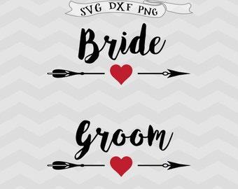 Wedding SVG Bride SVG Groom SVG arrow set Wedding svg Bridal svg Cricut downloads Bride and groom Cricut files for Silhouette designs Dxf