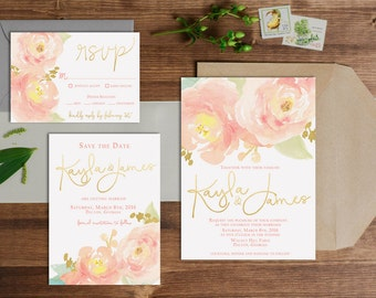 Blush Peony Watercolor Wedding Invitation Set with Gold Accents // Digital or Printed //