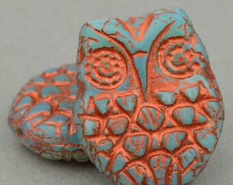Horned Owl Beads - Bird Beads - Czech Glass Beads - Nature Beads - Aqua Blue Opaline with Copper Wash Beads - 18x15mm Beads - 2 or 10 Beads
