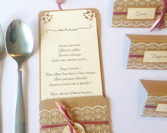 Range-covered, menu personalized kraft and lace and pink satin ribbon