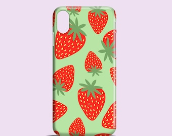 Erdbeeren Handyhülle / iPhone X, Phone 8 grün iPhone 7, 7 Plus, iPhone SE, iPhone 6 s, 6 / iPhone 5/5 s / Samsung Galaxy S7 / Galaxy S6