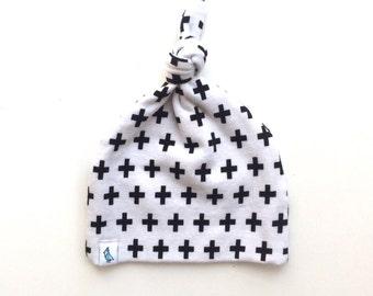 Baby Beanie - Top Knot Beanie - White Swiss Cross Top Knot Beanie - Newborn Beanie