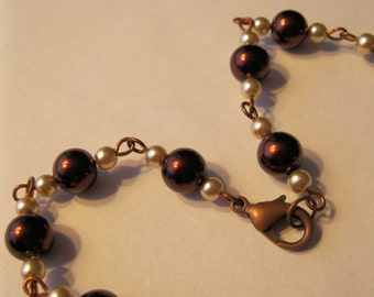 Copper Ceramic and Faux Pearl Necklace