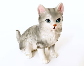 Vintage Cat Figurine - Grey Cat Sculpture - Long Haired Cat Kitten - Porcelain Cat Figure - Gift for Cat Lover - Cat Gifts Ceramic ESD Japan