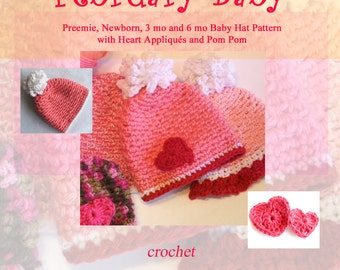 Baby Hat Pattern - February's Hat - Instant Download for Fast and Easy Basket Stitch Valentine's Baby Cap with Pom and Hearts