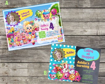 Personalized Shopkins Birthday Invitation- Digital File Only - DIY 5x7