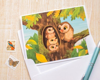 Owls - Mom and Baby Owls, Bird Greeting Card, Blank Card - Cute Card - Animal Card - Just Because - Any Occasion - Illustrated