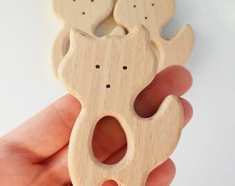 Out of natural wood of beech Fox - FOX beech wood teether - Teething toy - Wooden teether teether natural wood