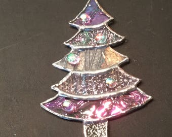 Stained Irridescent Glass Christmas Tree Ornament