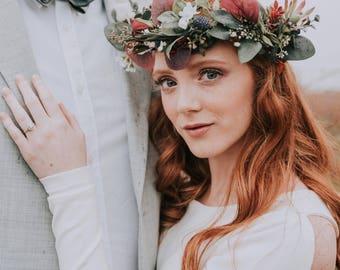 Greenery Crown- Eucalyptus Crown- Wild Flower Crown- Thistle Flower Crown- Burgundy Bridal Crown- Organic Wedding Headpiece- Green Halo