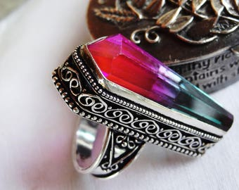 Ring tourmaline and silver plated - size 6.75 - unisex - mother day gift idea