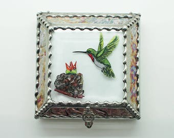 Hummingbird, Nest, Jewelry Box, Stained Glass, Keepsake Box, Stained Glass Box