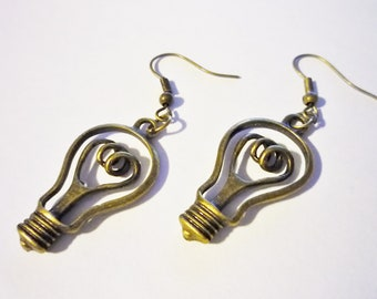 Lightbulb earring, lightbulb jewelry, light bulb, light earrings, bright earrings, idea earrings, creatives gift, bronze light bulb earrings