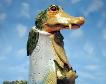 ceramic alligator shaman mystical figurine